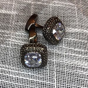 Other - Gunmetal color cuff links with crystal stone